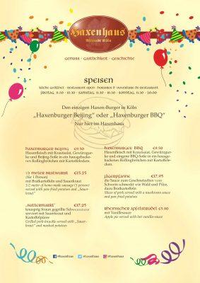 Haxenhaus Speisen an Karneval 2019